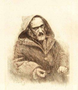 Ravier âgé - Portrait gravé par François Guiguet d'après une photographie de Félix Thioller