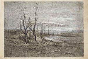 F.A.R., Chantabeau vers Creys, s.d. vers 1880. Gravure encre noire avec rehauts de gouache, 16,4x23,5 cm, signé en bas à droite. Coll. part.