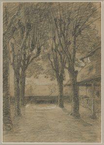 F.A.R., La terrasse de la maison de Ravier à Morestel, s.d. vers 1870.  Dessin mine de plomb sur papier gris bleu, rehaut de craie blanche, 52x30 cm. Coll. part.