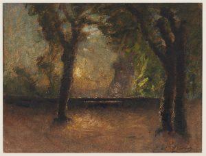F.A.R., La terrasse au couchant, s.d. vers 1870.  Aquarelle, 22x32 cm. Coll. part.
