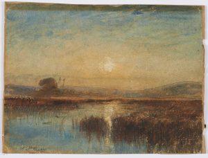 F.A.R., Etang de L'Aleva, coucher de soleil entre les joncs, s.d. vers 1875. Aquarelle, 22x30 cm, signé en bas à gauche. Coll. part.