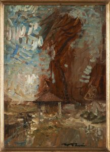 F.A.R.,  Le lavoir, s.d. vers 1878-80. Huile sur papier marouflé sur bois, 31x23 cm, cachet de la signature en bas à droite. Coll. part.  CBT