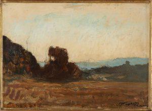 F.A.R., La lande près de Morestel, s.d. vers 1878-1880. Huile sur carton marouflé sur bois, 28x33 cm, cachet de la signature en bas à droite. Coll. part.
