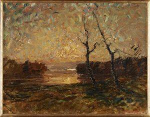 F.A.R. Crépuscule d'or sur l'étang de l'Aleva, s.d. vers 1878-1880. Huile sur toile marouflée sur carton, 32x40, 5  cm, cachet de la signature en bas à droite. Coll. part. CBT