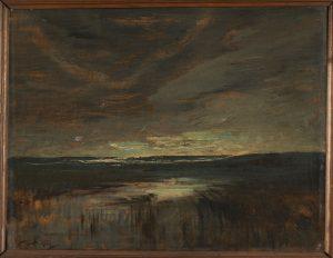 F.A.R., Crépuscule bleu sur l'étang de L'Aleva, s.d. vers 1878-1880. Huile sur panneau, signée en bas à gauche, 32x40, 5 cm. Coll. part.