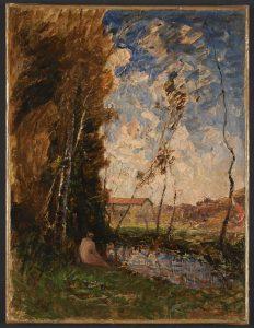 F.A.R., Baigneuse à l'étang de Roche, s.d. vers 1875. Aquarelle sur papier gros grain,  32x27,5 cm. Coll. part.