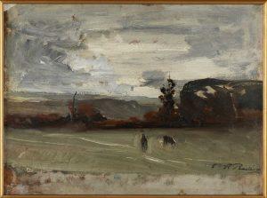 F.A.R., Temps gris, s.d. vers 1875-80. Huile sur papier marouflé sur toile, 24,5x30 cm, cachet de la signature en bas à droite. Coll. part. CBT
