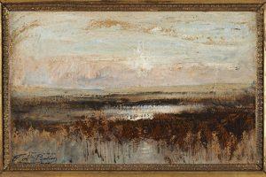 F.A.R., Temps gris, s.d. vers 1870. Huile sur papier marouflé sur toile, 21x33 cm, cachet de la signature en bas à gauche. Coll. part. CBT