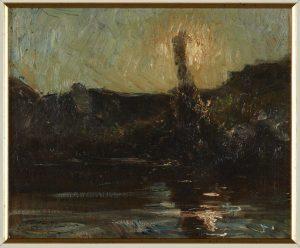 F.A.R. Grand peuplier devant un rocher, à Roche,  s.d. vers 1880. Huile sur papier marouflé sur toile, 23x33 cm, cachet de la signature en bas à gauche. Coll. part.