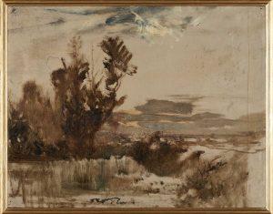 F.A.R.,  Etude de marais étude de marais près de Morestel, esquisse à l'huile  s.d. vers 1875. Huile sur papier marouflé sur bois, 24x29 cm, cachet de la signature en bas à gauche. 24x29Coll. part.