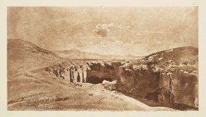 """F.T., héliogravure d'un dessin de Ravier, «Grottes de la Cervare, 1840"""". In Félix Thiollier,  Dessins de  A. Ravier, 1888, imp. Waltener, Lyon."""
