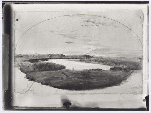 F.T.,  Photographie de l'aquarelle de Ravier:«Le Tibre le soir », s.d. vers 1887. Épreuve argentique sur papier albuminé, 8x12cm, Coll. part.