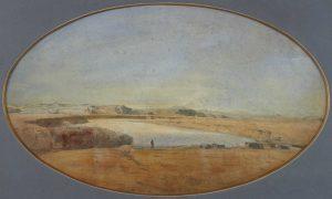 F.A.R., Le Tibre le soir à Aqua Acetosa, s.d. vers 1842.  Aquarelle,35x57cm, signé en bas à droite. Coll. part.