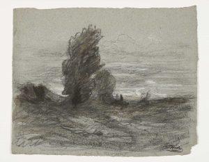 F.A.R., Etude bosquet d'arbres à Roche, près de Morestel, s.d. vers 1867-70. Dessin  à la pierre noire et rehauts de craie blanche, cachet de la signature en bas à droite, 27x39 cm. Coll. part.