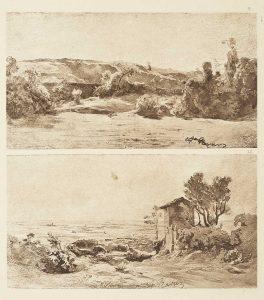 F.T., héliogravure d'après un dessin de Ravier, Cremieu, 1845.  In Félix Thiollier,  Dessins de  A. Ravier, 1888, imp. Waltener, Lyon.  Pl.9 et Albano.