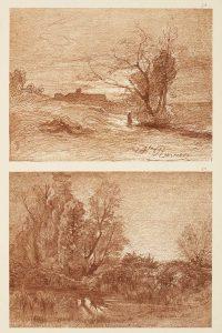 F.T., héliogravure d'un dessin de Ravier, Cremieu, Isère, 1856.  In Félix Thiollier,  Dessins de  A. Ravier, 1888, imp. Waltener, Lyon.  Pl.24-25