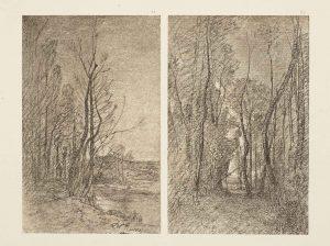F.T., héliogravure d'un dessin de Ravier, Morestel, 1866. Héliogravure. In Félix Thiollier,  Dessins de  A. Ravier, 1888, imp. Waltener, Lyon.  Pl 31-32