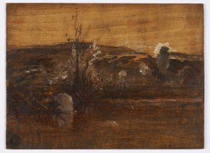 F.A.R., Etude sur nature à l'étang de Roche, s.d. vers 1870-1880,  Huile sur panneau sans apprêt,  recto, 29x40 cm. Non signé. Coll. part.