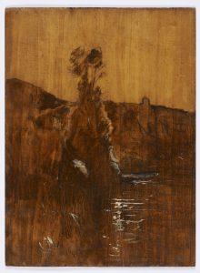 F.A.R., Etude sur nature à l'étang de Roche, s.d. vers 1870-1880,  Huile sur panneau sans apprêt,  verso,  40x29 cm. Non signé. Coll. part.