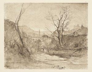 F.T., héliogravure.  dessin d'François-Auguste Ravier, Crémieu 1860.  In Félix Thiollier, Dessins de  A. Ravier, 1888, imp. Waltener, Lyon. Pl. 27.