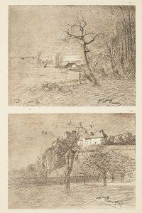 F.T., héliogravure d'un dessin d'François-Auguste Ravier, Morestel 1869.  In Félix Thiollier,  Dessins de  A. Ravier,  1888, imp. Waltener, Lyon. Pl. 78. Pl. 37-38.