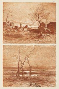 F.T., héliogravure d'un dessin de Ravier, Morestel 1878. In Félix Thiollier,  Dessins de  A. Ravier, 1888, imp. Waltener, Lyon. Pl. 49- 50.