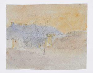 F.A.R., Porte de Crémieu, s.d. vers 1860-1867. Dessin  aquarellé, non signé, 14,5x17,5 cm. Coll. part.