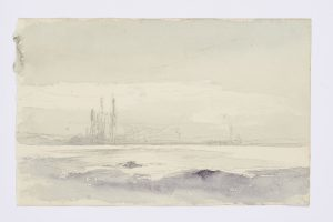 F.A.R., Paysage, étude, s.d. vers 1860-1867. Dessin aquarellé, non signé, 14,5x17,5 cm.  Coll. part.