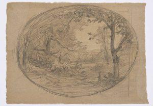 F.A.R., Paysage arboré dans un ovale, s.d. vers 1860-1867. Dessin  à la pierre noire et rehauts de craie blanche, signé en bas à droite sous l'ovale, 30,5x42 cm. Coll. part.