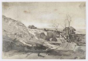 F.A.R., Montmartre 1842. 1842. Dessin à la plume, encre noire et rehauts de gouache,  17x24 cm, non signé. Coll. part.