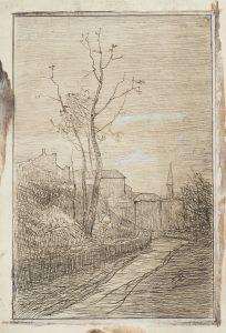 F.A.R., Route de Crémieu. S.d. vers 1860. Gravure à l'eau-forte, encre noire et rehauts de gouache,  24x16 cm, non signé. Coll. part. (Nb: le cuivre de cette eau-forte existe dans la collection Thiollier)