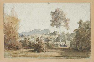 F.A.R., Campagne romaine avec personnage féminin,  S.d. vers 1842. Aquarelle et rehauts de gouache, 12x19,5 cm, non signé. Coll. part.