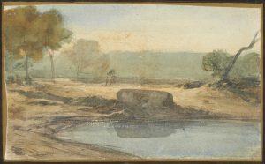 F.A.R., Campagne romaine bord de lac,  S.d. vers 1842. Aquarelle et rehauts de gouache, 10x15 cm, non signé. Coll. part.