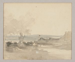 F.A.R.,, Crémieu, vue des remparts de St Hyppolite,   S.d. vers 1860. Aquarelle,  double face, recto, 14x16 cm, non signé. Coll. part.