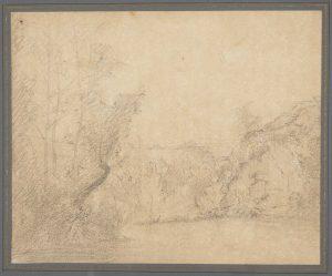 F.A.R.,, étude dans un ravin, Crémieu.  Dessin au crayon, double face, verso, 14x16 cm, non signé. Coll. part.