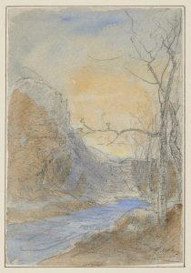 F.A.R., étude bord de rivière,  S.d. vers 1865. Aquarelle 17x11, 5 cm, signé en bas à droite. Coll. part.