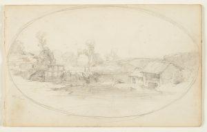 F.A.R., La vanne d'Optevoz,  S.d. vers 1855. Dessin au crayon inscrit dans un ovale, annoté par Ravier en bas à droite Optevoz, 14x22 cm, non signé. Coll. part.