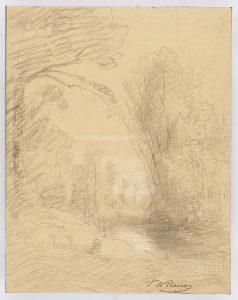 F.A.R., Bord de rivière vers Morestel,  S.d. vers 1875. Dessin au crayon et rehauts de gouache, 31x24 cm, signé à la plume FA Ravier en bas à droite. Coll. part.