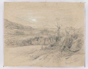 F.A.R., Thuile vers Morestel,  S.d. vers 1867. Dessin au crayon et rehauts de gouache, 24x30 cm, signé au crayon  en bas à droite. Coll. part.
