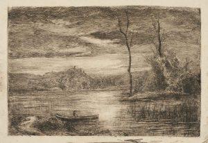 F.A.R., Inspiration Corot, Etang avec barque, non situé. S.d. vers 1855-1860. Gravure à l'eau-forte,  23x33 cm, non signé. Coll. part.