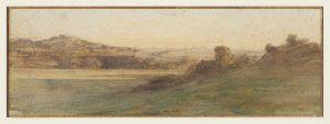 F.A.R.,, Paysage panoramique vers Crémieu,  S.d. vers 1855. Aquarelle 9,5x27 cm, signé en bas à droite. Coll. part.