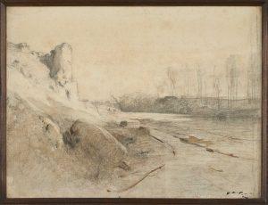 F.A.R., Route de Roche,  S.d. vers 1875. Aquarelle et crayon,  30x40 cm, cachet de la signature en bas à droite. Coll. part.