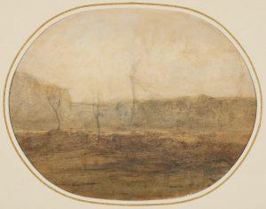 F.A.R.,, Falaises en Dauphiné,   S.d. vers 1865. Aquarelle et crayon,  23,5x30 cm, signé à la plume FA Ravier en bas à droite. Coll. part.