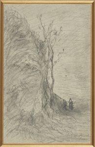 F.A.R., Arbre mort le long de la falaise vers Crémieu.  S.d. vers 1865. Dessin au crayon et rehauts de gouache, 24x15 cm, signé au crayon  en bas à droite. Coll. part.