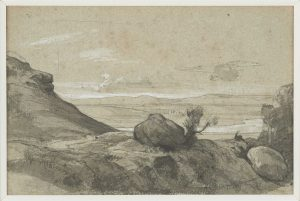 F.A.R., Le gros caillou.  S.d. vers 1860. Dessin au crayon, encre  et rehauts de gouache, 13x20 cm, non signé. Coll. part.