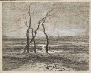 F.A.R., Morestel 1880, effet de contre-jour.  1880. Dessin à la plume, encre noire et rehauts de gouache sur héliogravure,  12x15 cm, signé milieu. Coll. part.