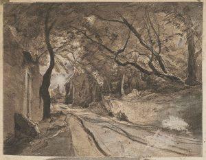 F.A.R., Arrivée à Crémieu, Isère, 1869.  1869. Dessin à la plume, encre noire et rehauts de gouache sur héliogravure,  12x15 cm, Non signé. Coll. part.