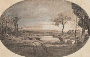 F.A.R., Le Tibre à Ponte Molle, 1846. 1846. Dessin à la plume, encre noire et rehauts de gouache sur héliogravure, 11x17,5 cm, signé en bas à gauche. Coll. part