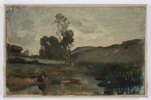 F.A.R.,, Lavandière à Optevoz, Isère. S.d. vers 1858. Huile sur toile, 26,5x42 cm. Non signé. Coll. part.
