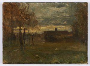 F.A.R.,, Crémieu au loin, crépuscule sur St Hyppolite. S.d. vers 1868. Huile sur toile, 26x43 cm. Cachet de la signature en bas à droite. Coll. part.